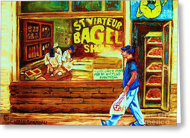 Boy With The Steinbergs Bag Greeting Card by Carole Spandau