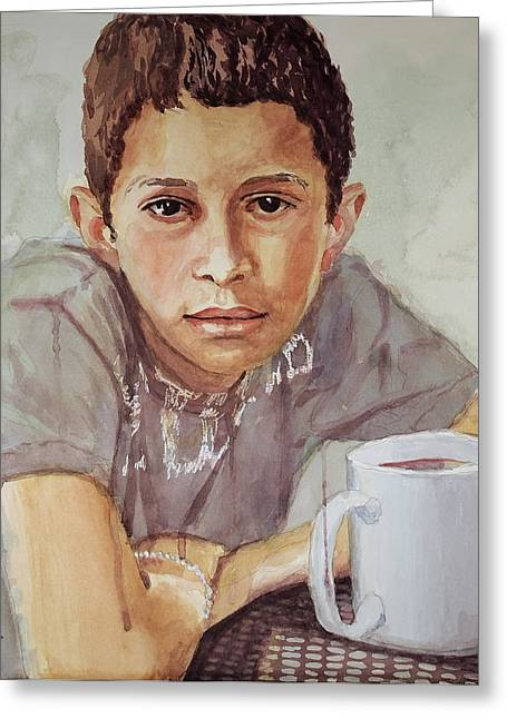 Boy With White Cup Greeting Card by Jeff Chase