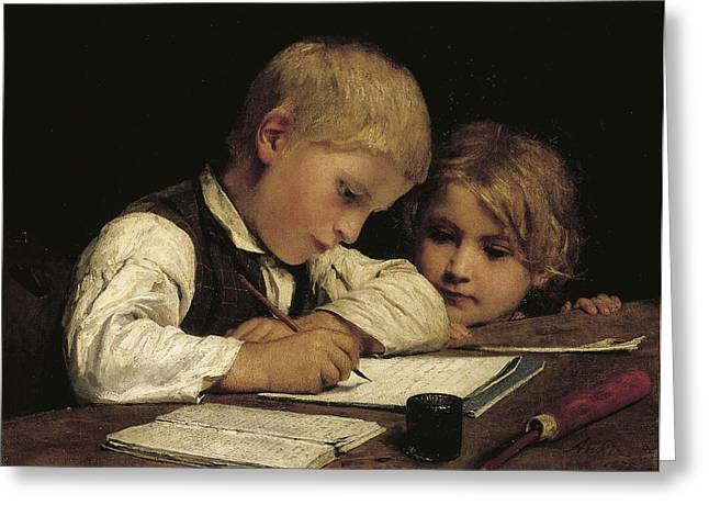 Boy Writing With His Sister, 1875 Oil On Canvas Greeting Card by Albert Anker