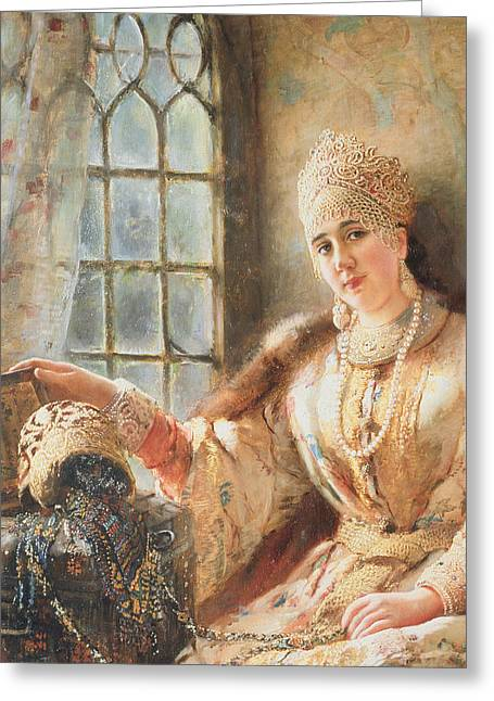Boyar's Wife At The Window Greeting Card by Konstantin Egorovich Makovsky