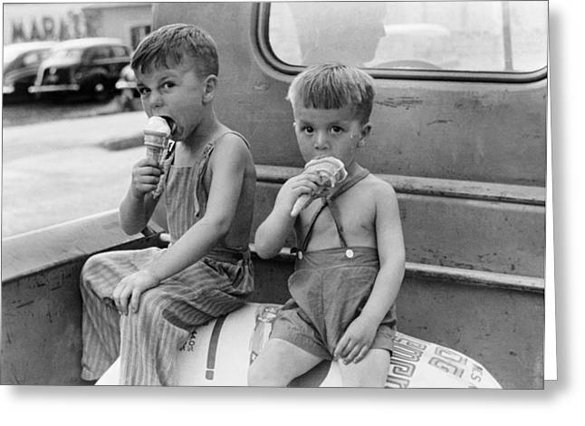 Boys Eating Ice Cream Cones Greeting Card
