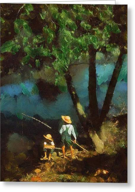 Greeting Card featuring the digital art Boys Fishing In A Bayou by Kai Saarto