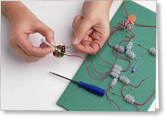 Boy's Hands Attaching Wires Greeting Card
