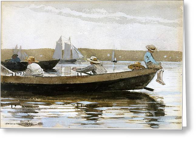 Boys In A Dory Greeting Card by Winslow Homer