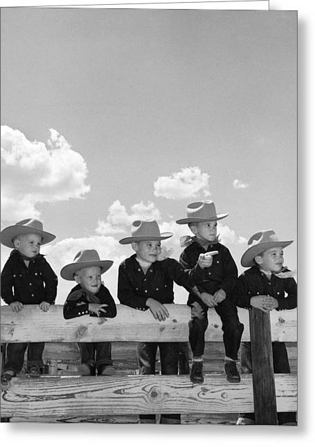 Boys In Identical Cowboy Outfits Greeting Card by B. Taylor/ClassicStock