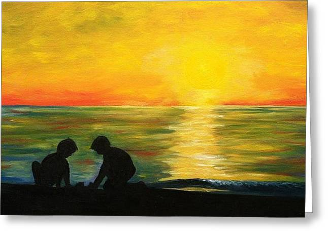 Boys In The Sunset Greeting Card