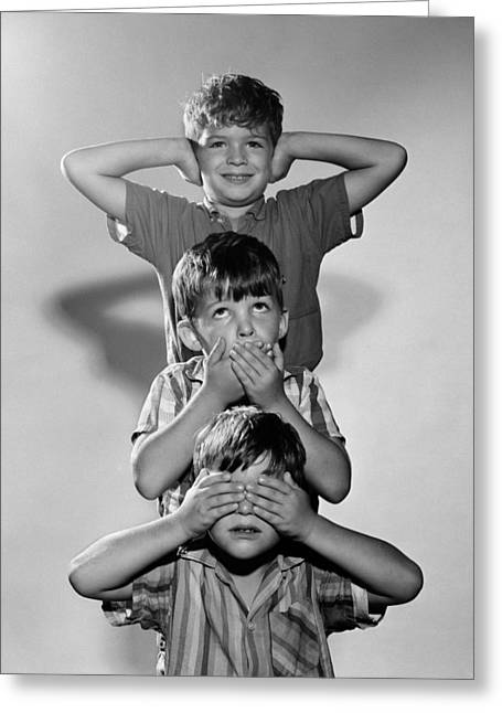 Boys Mime 3 Wise Monkeys, C.1960s Greeting Card by D. Corson/ClassicStock