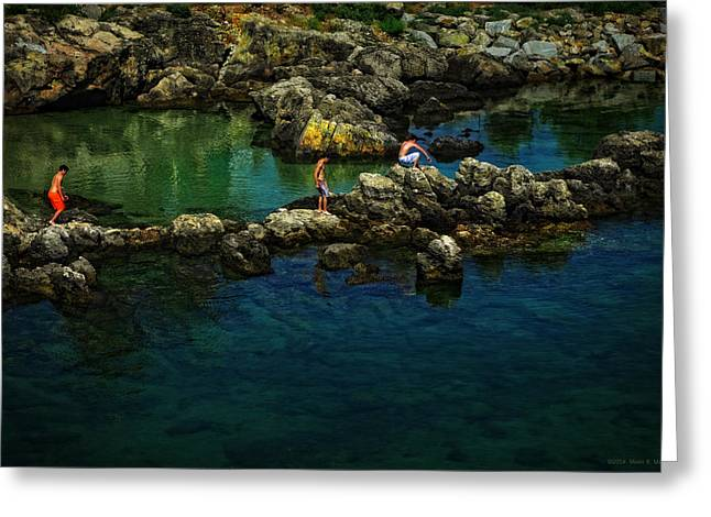 Boys On The Rocks Greeting Card by Mary Machare
