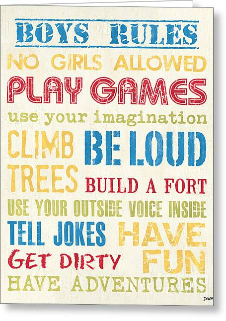 Boys Rules Greeting Card by Debbie DeWitt