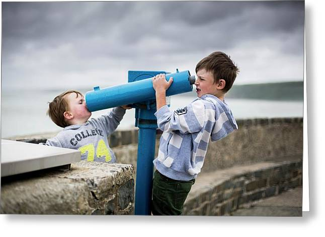 Boys Using Coin Operated Telescopes Greeting Card