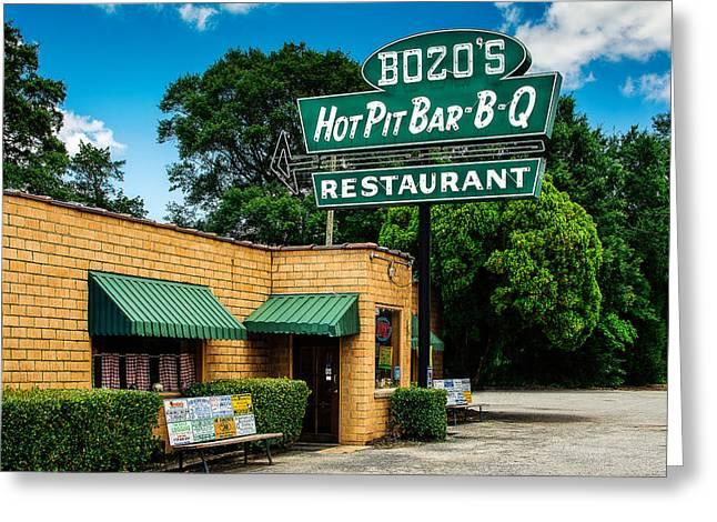 Bozo's Hot Pit Bar-b-q Greeting Card by Jon Woodhams