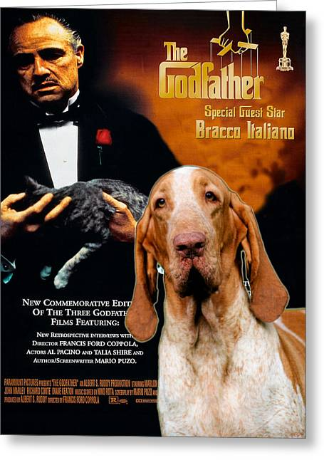Bracco Italiano Art Canvas Print - The Godfather Movie Poster Greeting Card by Sandra Sij