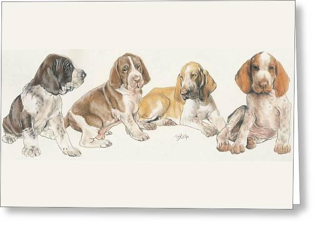 Bracco Italiano Puppies Greeting Card