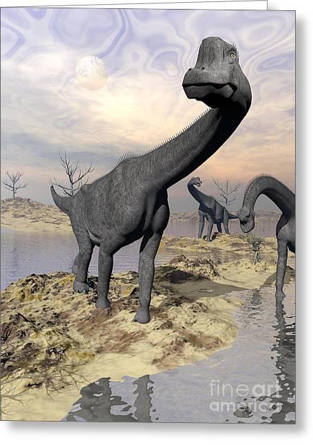 Brachiosaurus Dinosaurs Near Water Greeting Card by Elena Duvernay