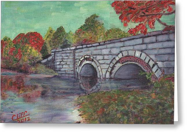 Brackett Reservoir Railroad Bridge Greeting Card by Cliff Wilson
