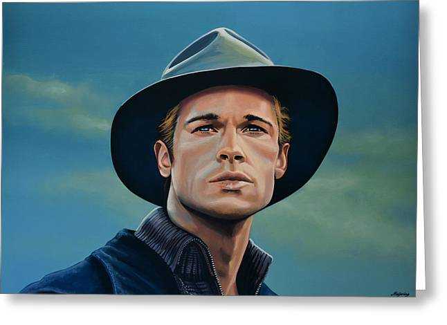 Brad Pitt Painting Greeting Card by Paul Meijering