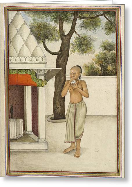Brahmin Blowing Conch Shell Greeting Card by British Library