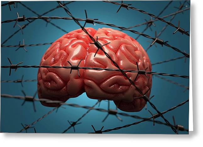Brain And Barbed Wire Greeting Card by Ktsdesign