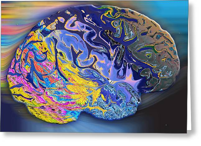 Brain Colours Greeting Card by Soumya Bouchachi