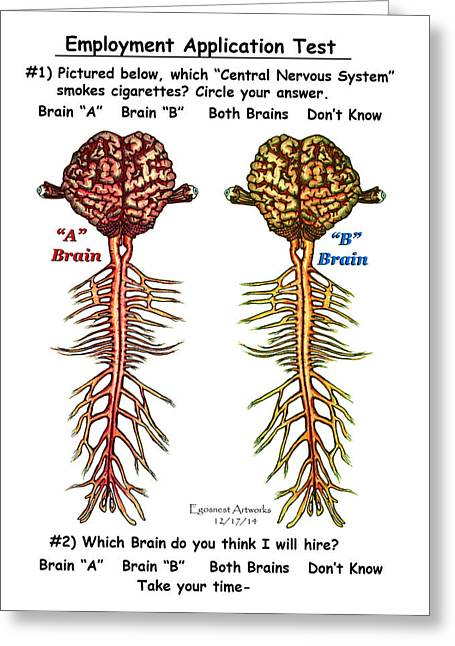Brain Compared With Smoking Brain Greeting Card