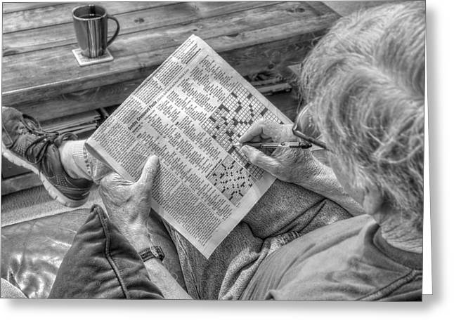 Mind Games - Sunday Crossword Puzzle - Black And White Greeting Card by Jason Politte
