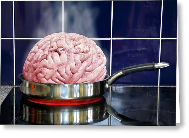 Brain In Frying Pan Greeting Card