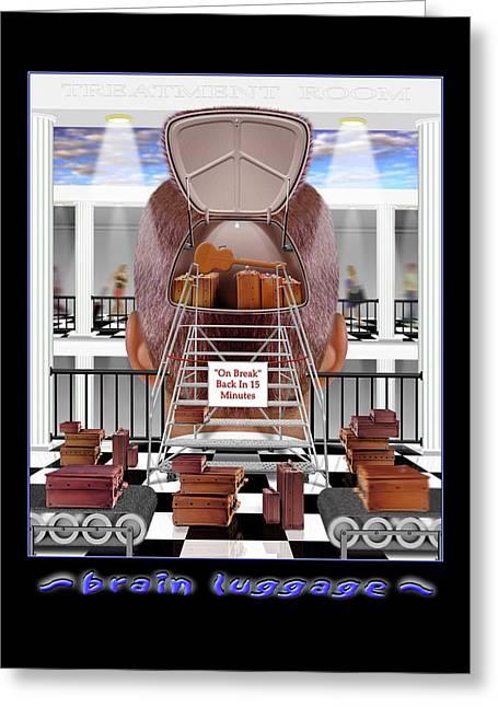 Brain Luggage Greeting Card by Mike McGlothlen
