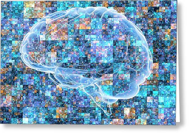 Brain Over Pixelated Background Greeting Card