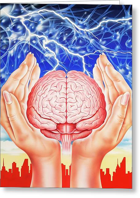 Brain Protection Greeting Card by John Bavosi