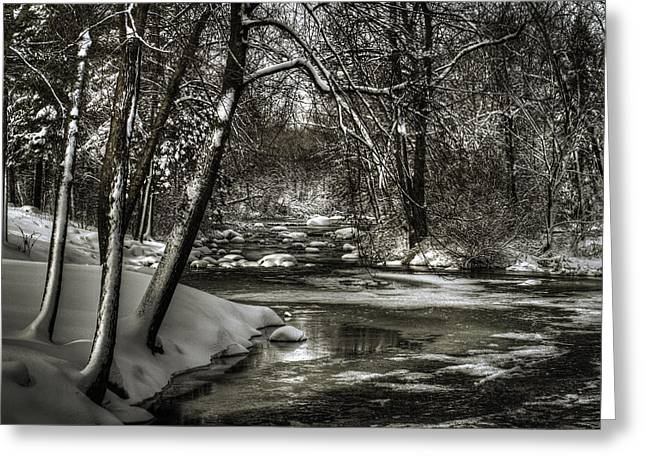Brainards Bridge After A Snow Storm 4 Greeting Card by Thomas Young