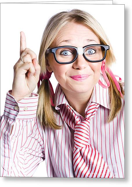 Brainy Business Woman Pointing Up To Great Idea Greeting Card by Jorgo Photography - Wall Art Gallery