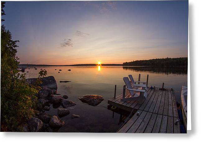 Branch Lake Sunrise In Maine Greeting Card