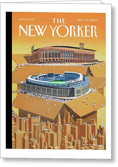 Brand New Yankee's And Met's Stadiums Coming Greeting Card
