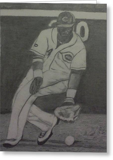 Greeting Card featuring the drawing Brandon Phillips by Christy Saunders Church