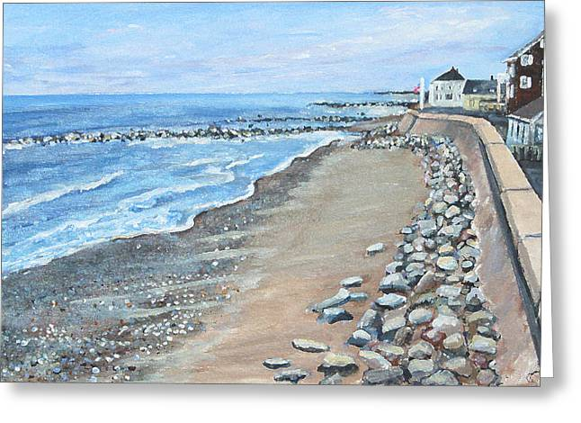 Brant Rock At High Tide Greeting Card by Rita Brown