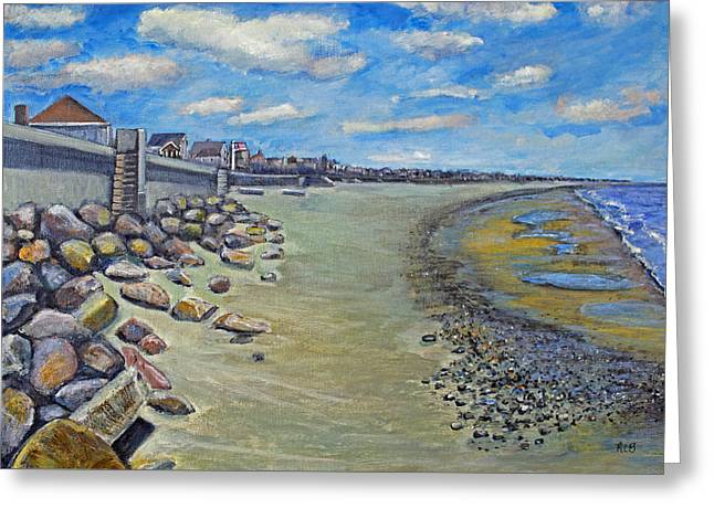 Greeting Card featuring the painting Brant Rock Beach by Rita Brown