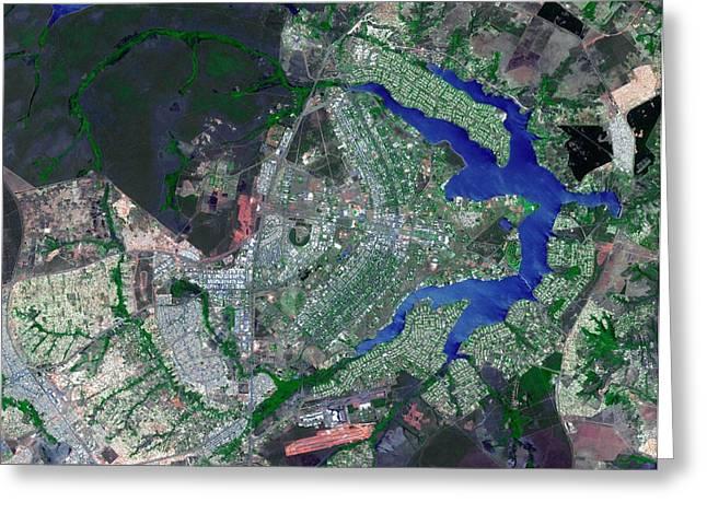 Brasilia Greeting Card by Nasa/gsfc/meti/japan Space Systems/u.s.,japan Aster Science Team