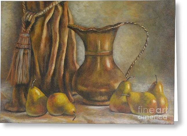 Brass And Pears Greeting Card by Jana Baker