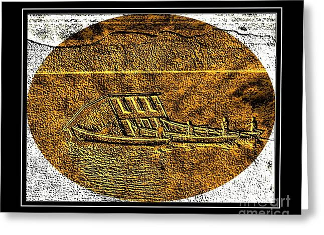 Brass Etching - Oval - Moving House By Water Greeting Card by Barbara Griffin