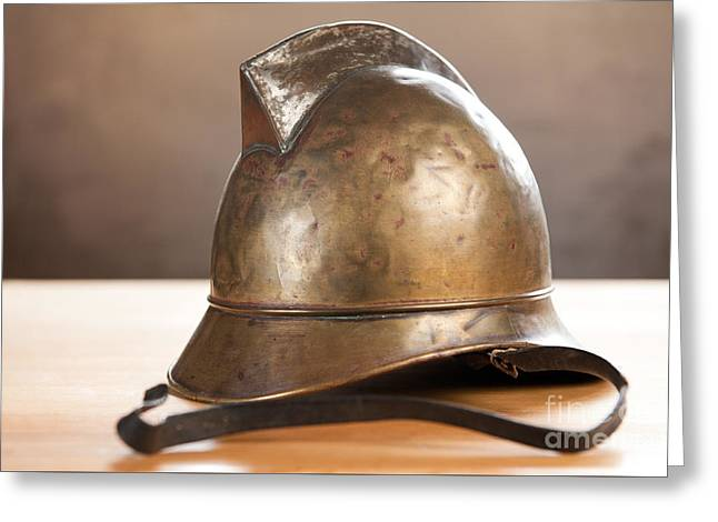 Vintage Brass Unique Fire Helmet  Greeting Card by Arletta Cwalina