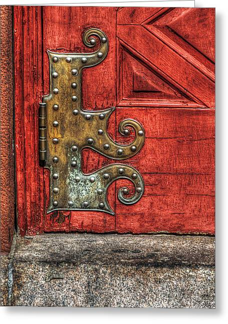 Brass Hinge Greeting Card by Rick Mosher