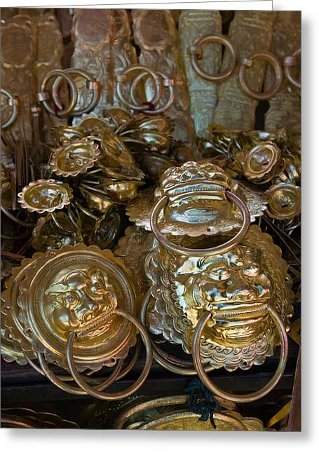Brass Items For Sale In A Street Greeting Card by Panoramic Images