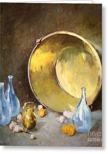 Greeting Card featuring the digital art Brass Kettle With Blue Bottles After Carlsen by Lianne Schneider