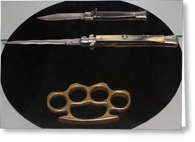 Brass Knuckles And Knives Greeting Card by Steven Parker
