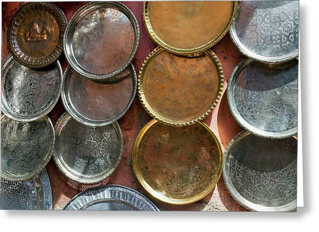 Brass Plates For Sale In The Souk Greeting Card by Nico Tondini