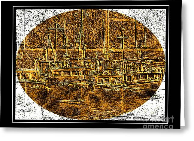 Brass-type Etching - Oval - Boats Tied Up To The Wharf Greeting Card by Barbara Griffin