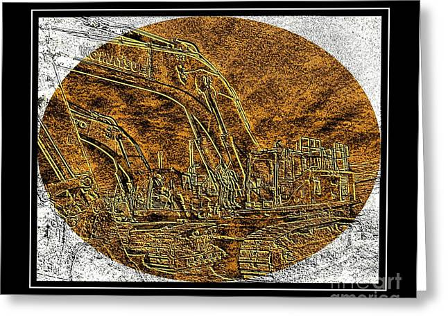 Brass-type Etching - Oval - Construction Worker Greeting Card by Barbara Griffin