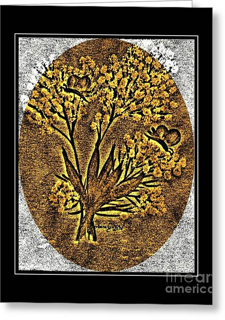 Brass-type Etching - Oval - Butterflies And Babies Breath Greeting Card by Barbara Griffin