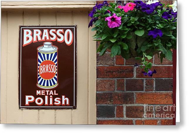 Vintage Brasso Polish Advert Greeting Card by James Brunker