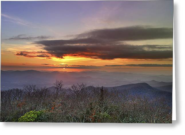 Brasstown Bald At Sunset Greeting Card by Debra and Dave Vanderlaan